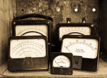 Vintage Electric Meters Royalty Free Stock Photos