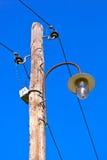 Vintage electric pole in village Drvengrad Mecavnik - Serbia Stock Images