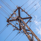 Vintage electric pole with wires Stock Photos