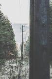 Vintage electric poles. Soft tones Stock Photo