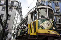 Vintage Electric train. In Lisbon,  Portugal Stock Photos