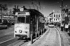 Vintage Electric Tram In Istanbul - Turkey Royalty Free Stock Images