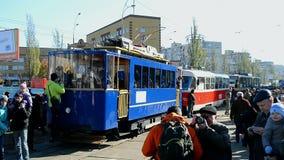 Vintage electric tram parade, Kiev, Ukraine,. KIEV, UKRAINE - OCT 25, 2014: Electric tram parade on October 25, 2014 in Kiev, Ukraine. 1st electric tram in Kyiv stock footage