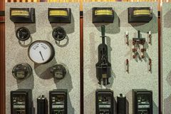 Vintage Electrical control Panel stock photo