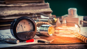 Vintage electrical lab at school Royalty Free Stock Image