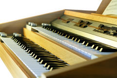Vintage electronic organ. From 70s. Veneer, alluminium, vintage plast register buttons Stock Photography