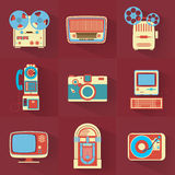 Vintage Electronics. Collection of Vintage Electronics / Media Icons / Retro Devices Stock Photography