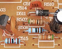 Vintage electronics. Fragment with details Stock Photo
