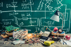 Vintage Electronics Workplace In Physics Lab Stock Photo