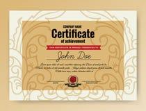 Vintage elegant certificate of achievement Stock Image