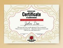 Vintage elegant certificate of achievement with ornaments royalty free illustration