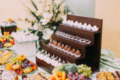 Vintage elegant delicious dessert table with stylish tableware Stock Images