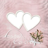 Vintage elegant frame with rose and heart Royalty Free Stock Photography