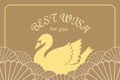 Vintage elegant golden swan in Japanese and Chinese style invita vector illustration
