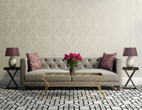 Vintage elegant living room with grey velvet sofa stock photography