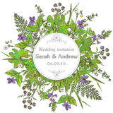 Vintage elegant wedding invitation or card Save the Date  Royalty Free Stock Image