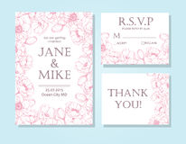 Vintage elegant wedding invitation card template set with anemon Royalty Free Stock Photos