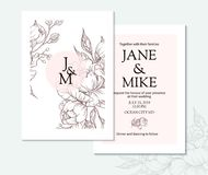 Vintage elegant wedding invitation card template with vector peony and roses. Stock Photography