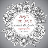 Vintage elegant wedding invitation with graphic roses stock illustration