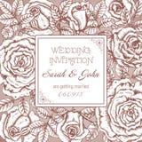 Vintage elegant wedding invitation with graphic roses Royalty Free Stock Image