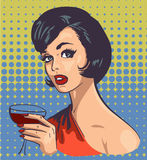 Vintage elegant woman with wine  pic Stock Image