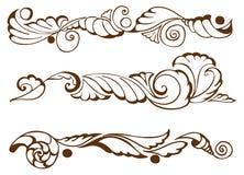 Vintage elements. Brown set leafs stock illustration