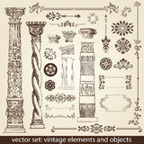 Vintage elements - antique -. Set of vintage objects to use for business Stock Photos