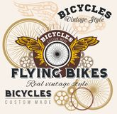 Vintage elements with Bicycle label set template. Royalty Free Stock Photography