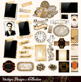 Vintage Elements Collection. PhotoFrames, Adhesive Straps, Vintage Labels, Complete Backgrounds, Ribbons, Fruits and so on Royalty Free Stock Photos