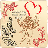 Vintage elements: roses, angels wings, cupid Stock Photography