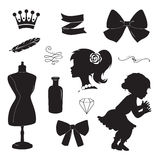 Vintage elements set. Vector silhouettes. Royalty Free Stock Photo