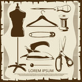 Vintage elements for tailor labels - scissors, dummy, thread, pins Stock Photography