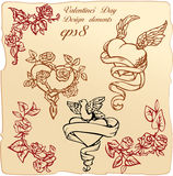 Vintage elements and vignettes for Valentine`s Day royalty free stock images