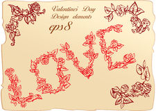 Vintage elements and vignettes for Valentine`s Day Royalty Free Stock Photos