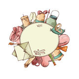 Vintage elements for wedding design. Greeting card, vector illustration. Royalty Free Stock Photo