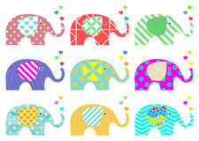 Vintage elephants. Retro pattern. Textures and geometric shapes. PNG available. Sweet vintage elephants with hearts on proboscis. Colorful vintage texture. Nine Stock Image