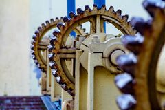 Vintage elevator gear, winch, cable, large gears for backdrop, industry stock images