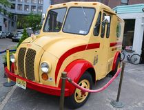 Vintage Elmhurst Dairy DIVCO delivery truck in Brooklyn Bridge Park. stock images