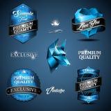 Vintage emblem blue Stock Images