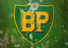 Vintage emblem of the BP Oil Company. DREMPT - NOVEMBER 15: Vintage emblem of the BP Oil Company on November 15, 2013 in Drempt, The Netherlands. The British Royalty Free Stock Photo