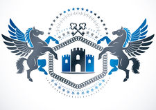 Vintage emblem created in vector heraldic design and composed us Royalty Free Stock Photos