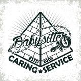 Vintage emblem design. Vintage logo graphic design, print stamp, babysitter typography emblem, Creative design, Vector Stock Image