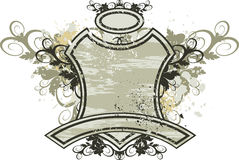 Vintage emblem - flowers ornament on grunge background Royalty Free Stock Image