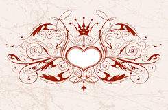 Vintage emblem with heart Stock Photography
