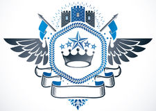 Vintage emblem made in vector heraldic design. Winged vector emb Royalty Free Stock Photography