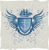 Vintage emblem with mariner's cross. Vector illustration in eps 8 format royalty free illustration