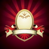 Vintage emblem on red. Background Royalty Free Stock Photos