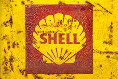 Vintage emblem of the Shell Oil Company. DREMPT - NOVEMBER 15: Vintage emblem of the Shell Oil Company on November 15, 2013 in Drempt, The Netherlands. Shell Oil royalty free stock photos