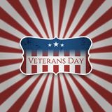 Vintage Emblem with Veterans Day Text. Vector Illustration Stock Images