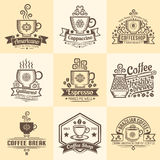 Vintage emblems for coffeehouse Stock Photography